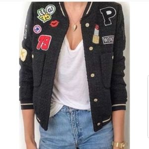 Zara Woman tweed bomber jacket with patches.